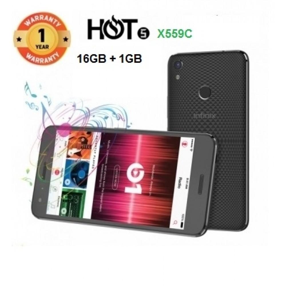 "INFINIX HOT 5 X559C, 5.5"" Screen, 16GB ROM+1GB RAM, 8+5MP, Fingerprint scanner SmartPhone black"
