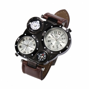 Men's Sports Watch Simulation Quartz Electronic Leisure Watch Gifts Fashion Watch with Date Compass brown 14cm-22cm