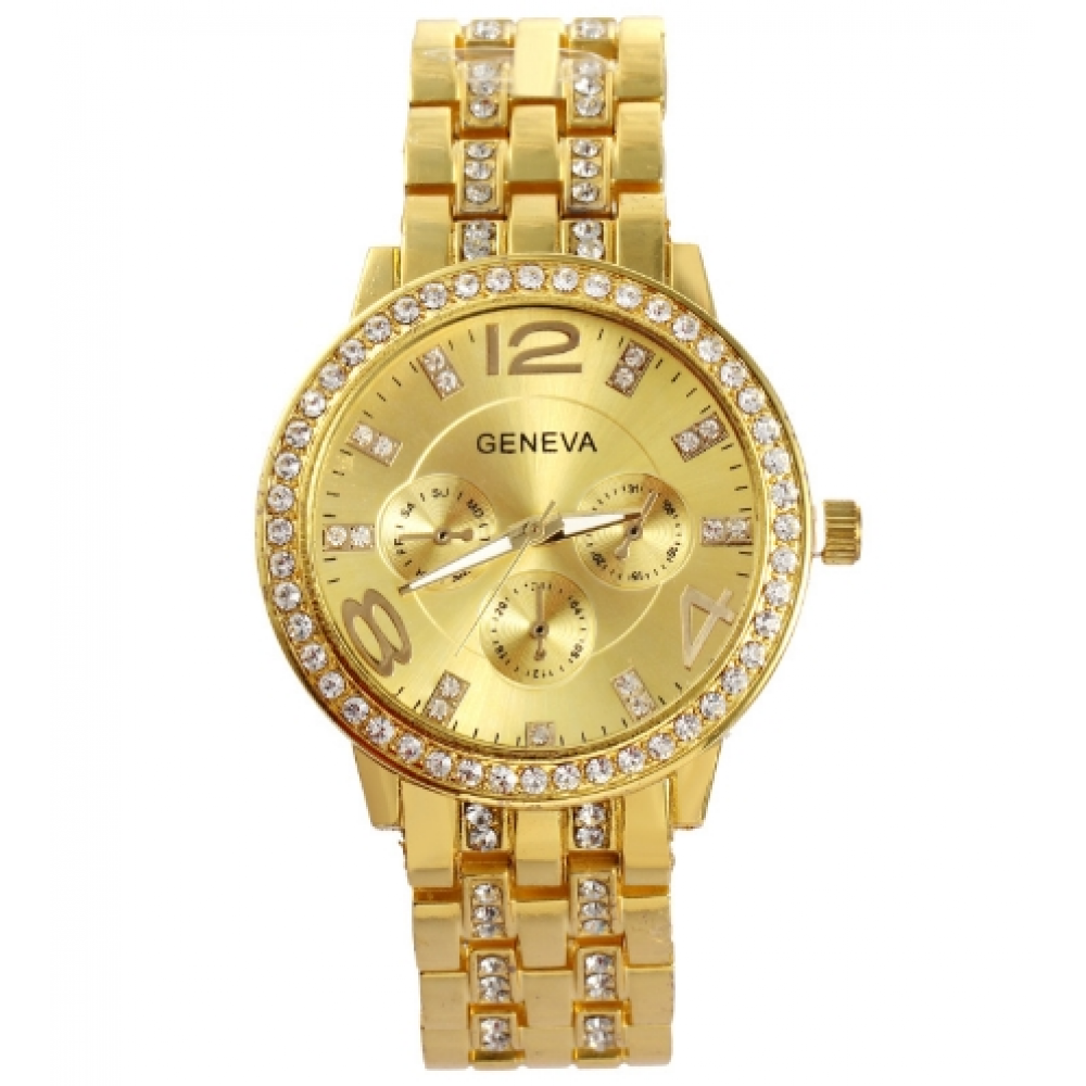 Man and Women Watch Casual Three Clock Simulated Diamond Quartz Watches Lady Dress Wristwatches Golden one size