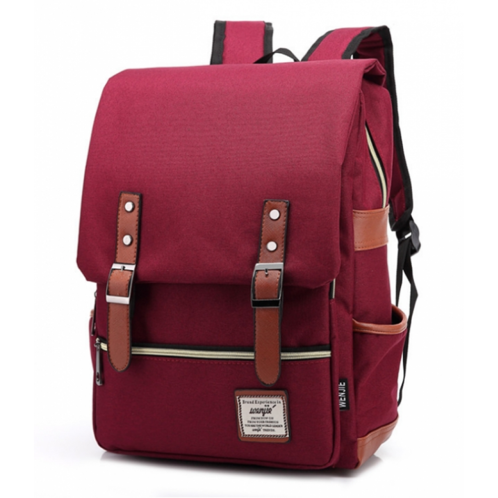 2018 Men Women Canvas Backpacks School Bags Large Capacity Backpack Fashion Men Backpack Wine red 16 inch