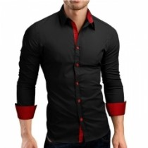 Men Shirt Brand 2018 Male High Quality Long Sleeve Shirts Casual Hit Color Slim Fit black red xl