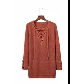 KK-Women Loose Long Sleeve Bandage Sweater Ladies Sweatshirt Jumper Pullover Tops Blouse A01 Free size