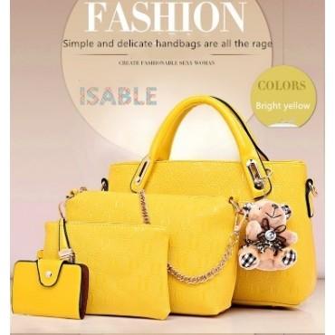 Isable Handbag 5 colors Classic Fashion Women Luxury Handbag PU Leather Genuine Bags yellow 1