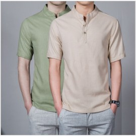 Men Slim Shirt Solid Color Short Sleeve Linen Vert..