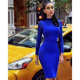 Womens Mock Neck Sexy Mesh Long Sleeve Bodycon Party Mini Club Dress Autumn Spring Clothes s blue