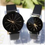 Men Women Wrist Watch Fashion Casual PU Leather Strap Round Dial Couples Quartz Sport Wristwatches black-for wowan