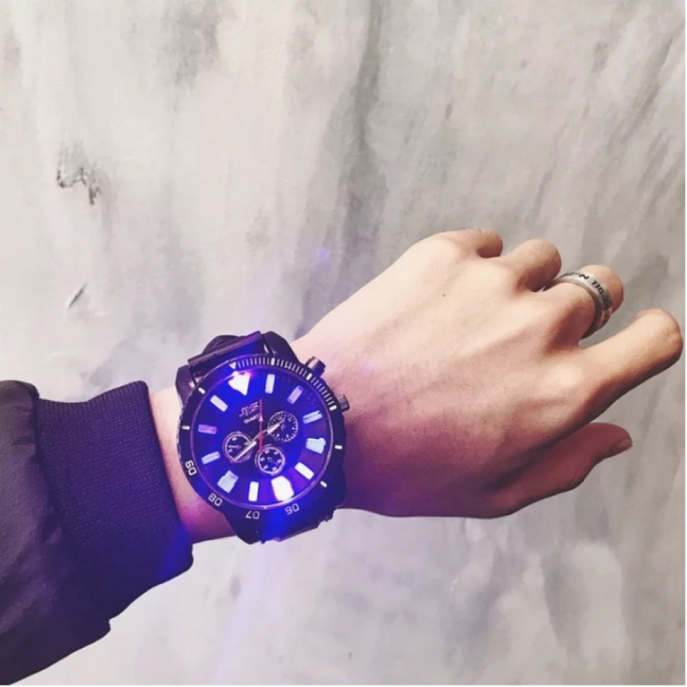 JIS Brand Fashion Wrist Watch Wristwatch Quartz Cool Men's NightLight Luminous Electronic watch black one size