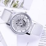 Fashion Wrist Watch Men Women Gear Design Simple Style Wristwatch Belt Watch silver one size