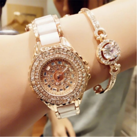 Fashion Wrist Watch Women High EndLuxury Shiny Rhi..