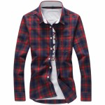 Men's long sleeved shirt for men's casual four colored lattices shirts gules m