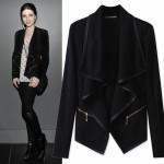 2018 new womens coat Irregularly overcoat for women's wear zipper Slimming long sleeve coat black m