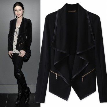 2018 new womens coat Irregularly overcoat for women's wear zipper Slimming long sleeve coat black m
