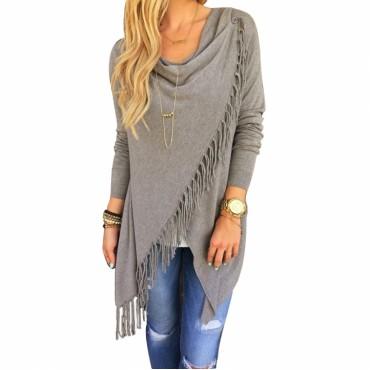 Fashion Autumn Women Long Sleeve Tassel Slash Pullover Casual Knitted Wear Winter Sweater Tops grey s