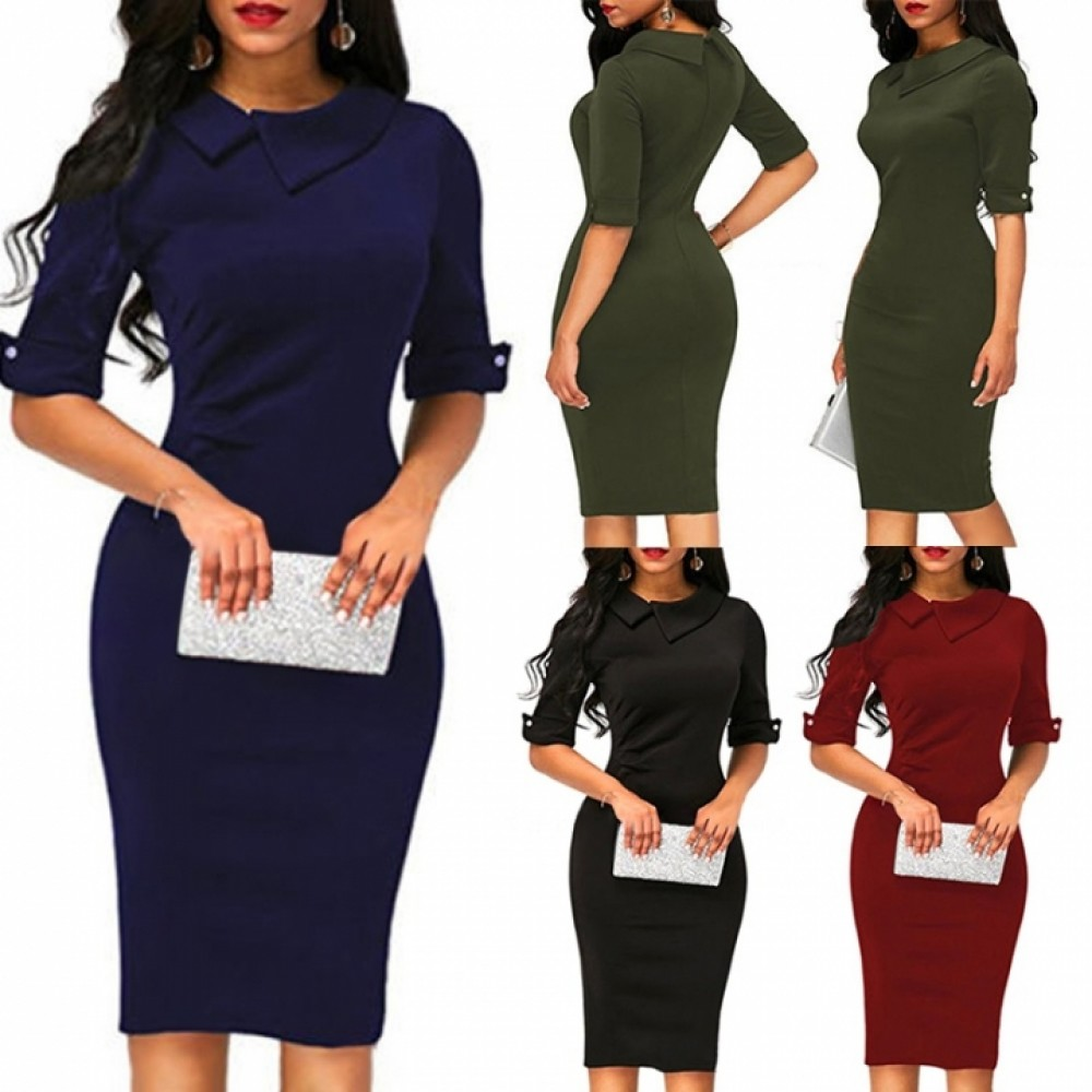 1PCS Women Ladies Solid Color Half Sleeves Elegant Office Lady Overhip Knee Length Pencil Dress m black
