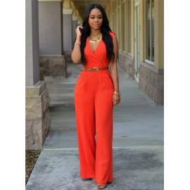 M&J High-Waisted V-Neck Casual Jumpsuits Office La..