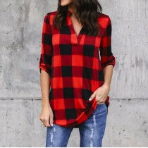 Plus Size 5XL Women Tops and Blouse Casual Loose Long Sleeve V-neck Plaid Clothes Office Blouses Red S