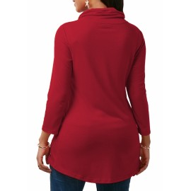 M&J Sexy Women Long Sleeve Turtleneck Casual Tops Solid Shirt Office Lady Top wine red m