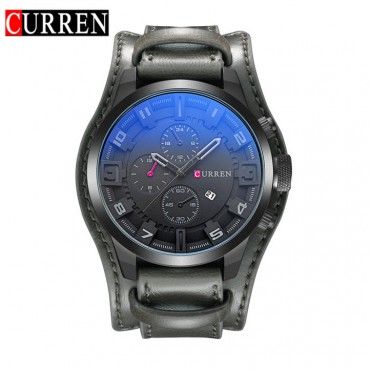 CURREN Watch Men Military Quartz Watch Mens Watches Top Brand Luxury Leather Sports Wristwatch gray gray 48mm