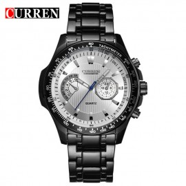 Curren Quartz Black Vogue Business Military Man Men's Watches 3ATM waterproof Watch Gift black white 43mm
