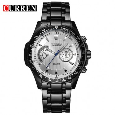 Curren Quartz Black Vogue Business Military Man Men's Watches 3ATM waterproof Watch Gift black white 43mm