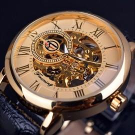 Forsining Royal Men Mechanical Watch high grade leather strap Top Brand Luxury Skeleton Watch gold and black belt 40x18x11mm