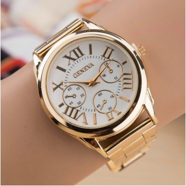 Fashion Luxury Men's and Women's Casual Stainless Steel Gold Roman Digital Sports Quartz Watch white one size