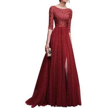 CICI Women's fashion lace sleeves Chiffon Maxi Long Evening Party Elegant Dress L Wine red