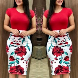 Women Casual Bodycon Dress Floral Print Formal Pac..