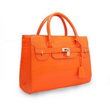 2018 new women's hand bags Alligator Pattern bag shoulder bag Birkin bag lock orange 36*13*37