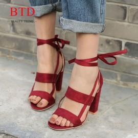 BTD Hot Plus Size 34-43 Ladies Heels Suede Cross Bandage Thick High Heels Sandals Women Shoes wine red 35
