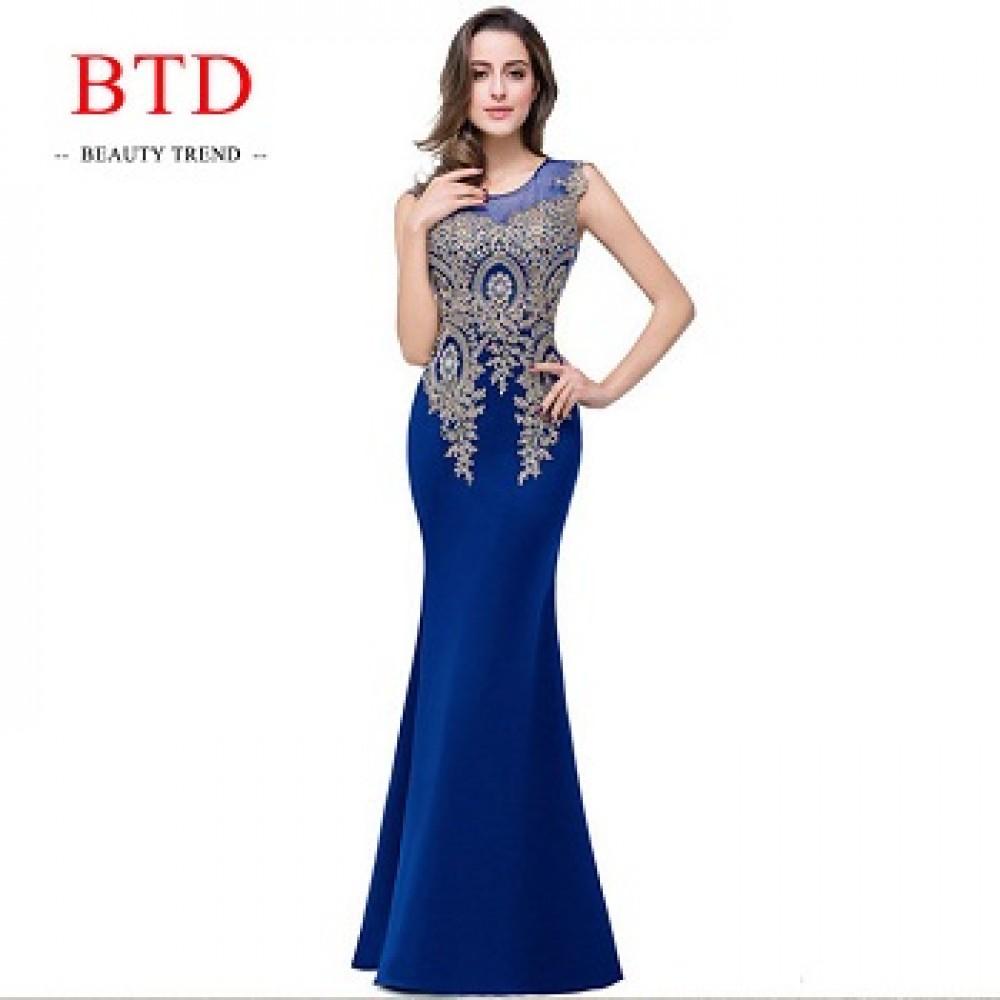 BTD Hot Ladies Evening Party Formal Dresses Net Yarn Wedding Bridesmaid Maxi Women Dress s blue