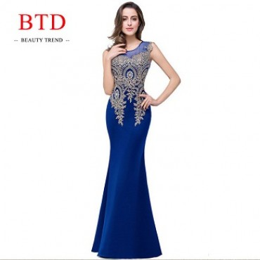 BTD Hot Ladies Evening Party Formal Dresses Net Yarn Wedding Bridesmaid Maxi Women Dress s blue