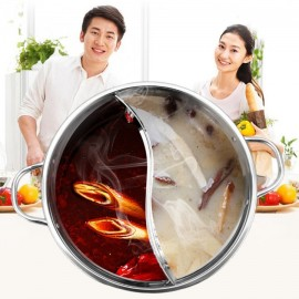 30CM Easy Clean Stainless Steel Hot Pot Shabu Dual..