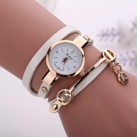 2018 Women watches luxury Analog Alloy Quartz Watch PU Leather Bracelet Watches white