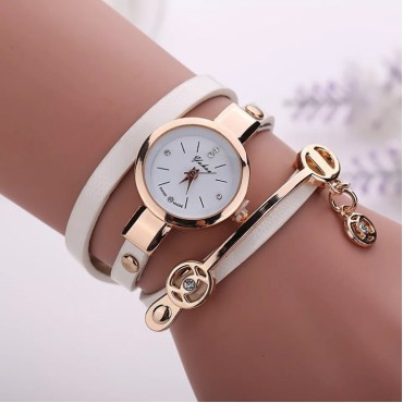 2018 Women watches luxury Analog Alloy Quartz Watch PU Leather Bracelet Watches white