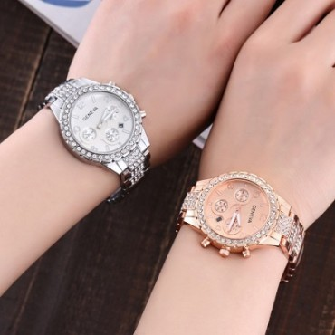 Explosion section steel belt diamond men's watch fashion three-eye belt calendar quartz drill gold currency