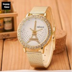 Explode Eiffel Tower point drill Watch Gold Plated leisure lady belt Watch Golden commonly