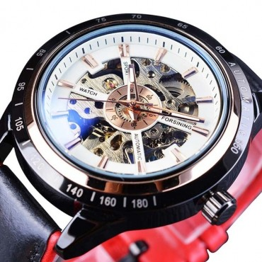 Mechanical watch Transparent Waterproof leather hollow-out automatic mechanical watch Men Watches white+red a