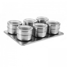6pcs Stainless Steel Magnetic Seasoning Pot SILVER