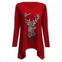 Christmas Round Collar Long Sleeve Deer Print Wome RED S