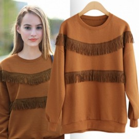 Trendy Round Collar Fringed Pure Color Women Sweat KHAKI L