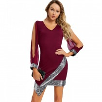 Slit Sleeve Sequin Trimmed Chiffon Party Dress RED WINE XL