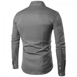 COCOCICI Men Fashion Embroidery Multicolor Base Printing Shirt Large Size Slim Long Sleeve Shirt gray s