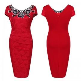 DALU Women Fashion Sleeveless High Waist Embroidery Lace Dress Lady Formal Bodycon Dress Skirt s red