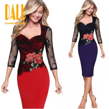DALU Women Lace Dress Elegant Lady Pencil Dress Office Wear Outfits Casual Vestidos Dress Skirt s red