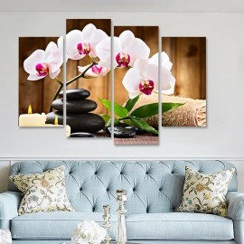 4Pcs Butterfly Orchid Flower Print Room Wall Decor..