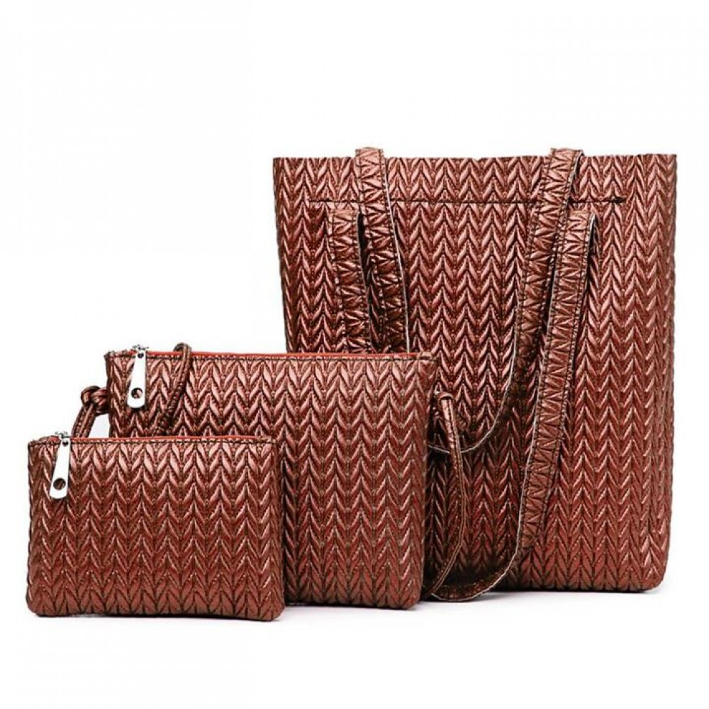 2018PU leather new indentation, single shoulder, hand-held striding 3 pieces set women's bag Brown One size