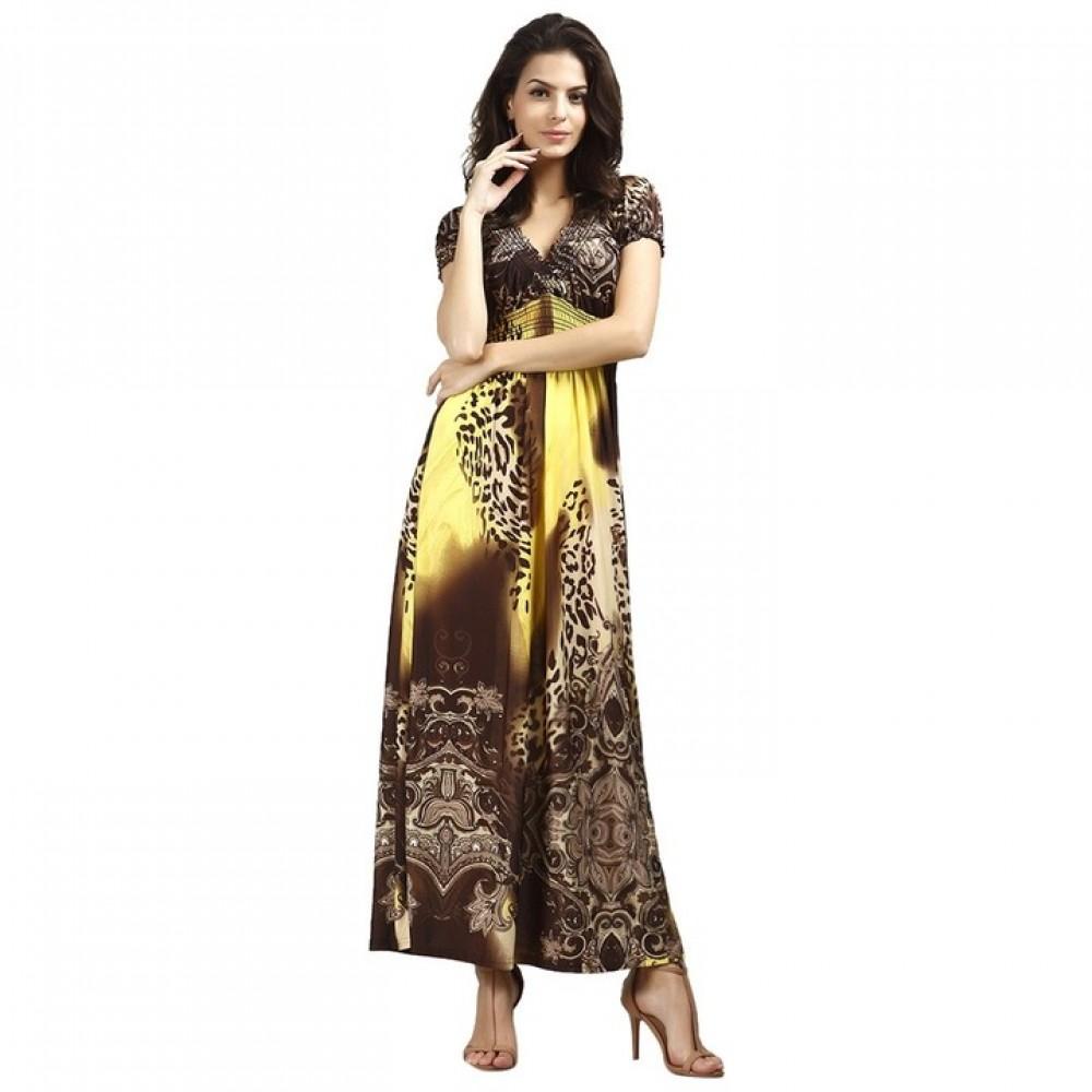 Bohemian V-Neck Short Sleeve Leopard Print Dress For Women women clothes