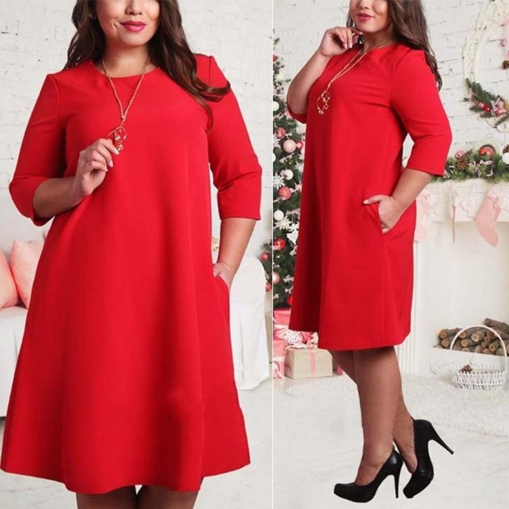 L-6XL Big size dresses office ladies plus size casual loose dress pockets vestidos women clothes l red