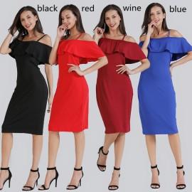 Women plus size boat neck tube top beach dresses o..
